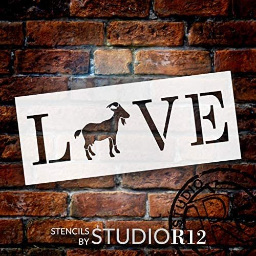 Goat Love Stencil by StudioR12 | DIY Farmhouse Home Decor | Craft & Paint Wood Sign | Reusable Mylar Template | Rustic Animal Lover Kitchen Barn Gift | Select Size