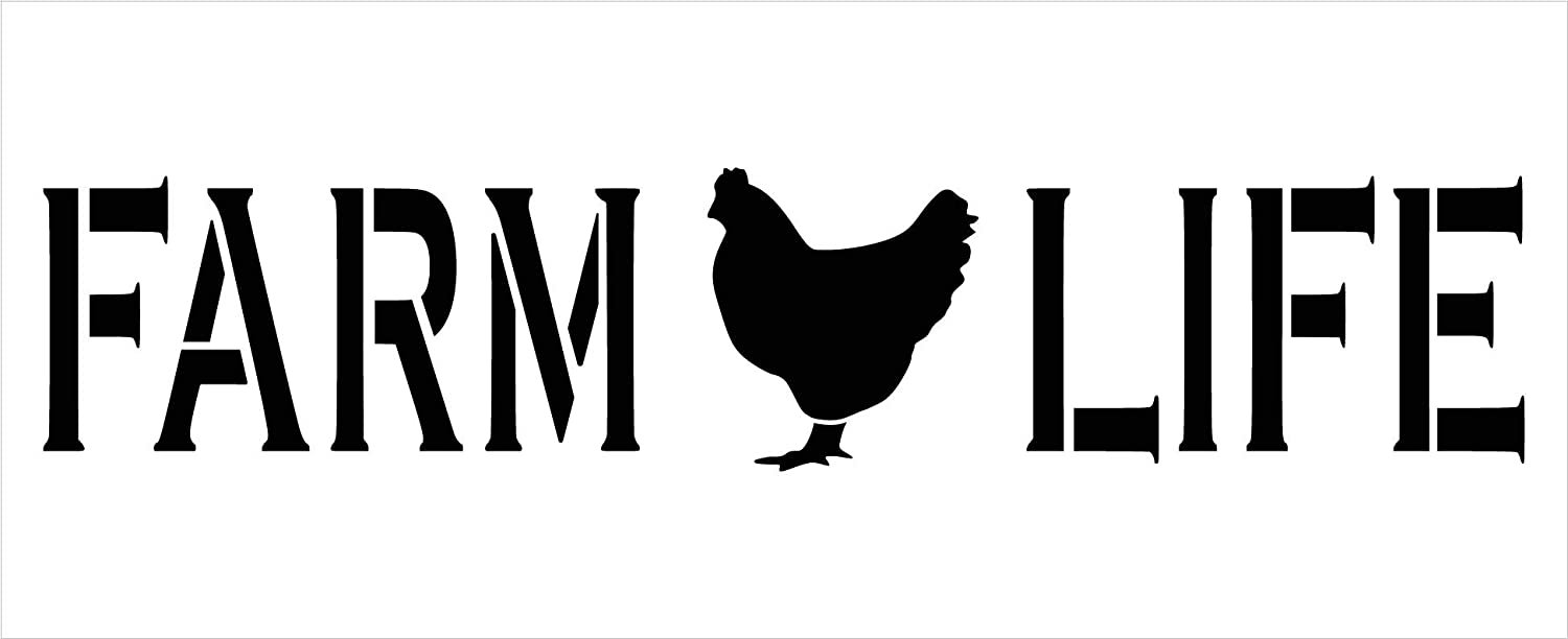 Farm Life Stencil by StudioR12   DIY Chicken Farmhouse Home Decor   Craft & Paint Wood Sign Reusable Mylar Template   Rural Country Gift Kitchen - Barn - Coop Select Size