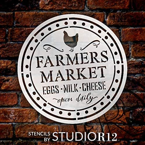 Farmers Market Stencil by StudioR12 | Eggs Milk Cheese Open Daily | DIY Chicken Home Decor | Craft & Paint Wood Sign | Reusable Mylar Template | Rural Country Gift Select Size