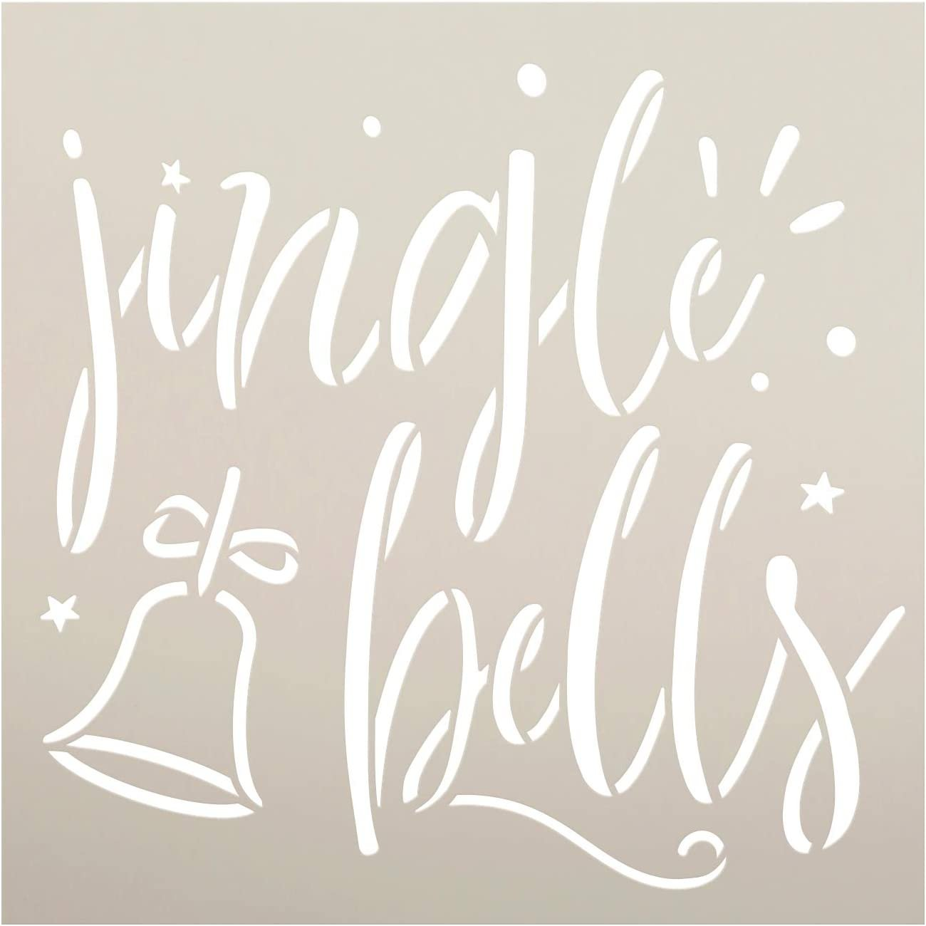 Jingle Bells Stencil by StudioR12   DIY Christmas Holiday Home Decor   Craft & Paint Wood Sign   Reusable Mylar Template   Star Winter Cursive Script Gift   Select Size