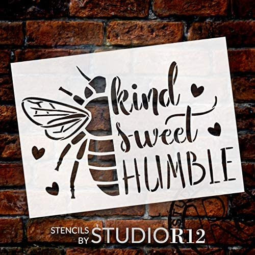 BEE Kind - Sweet - Humble Stencil by StudioR12   DIY Bumblebee Home Decor   Craft & Paint Wood Sign   Reusable Mylar Template   Sweet Cursive Script Heart Gift Select Size