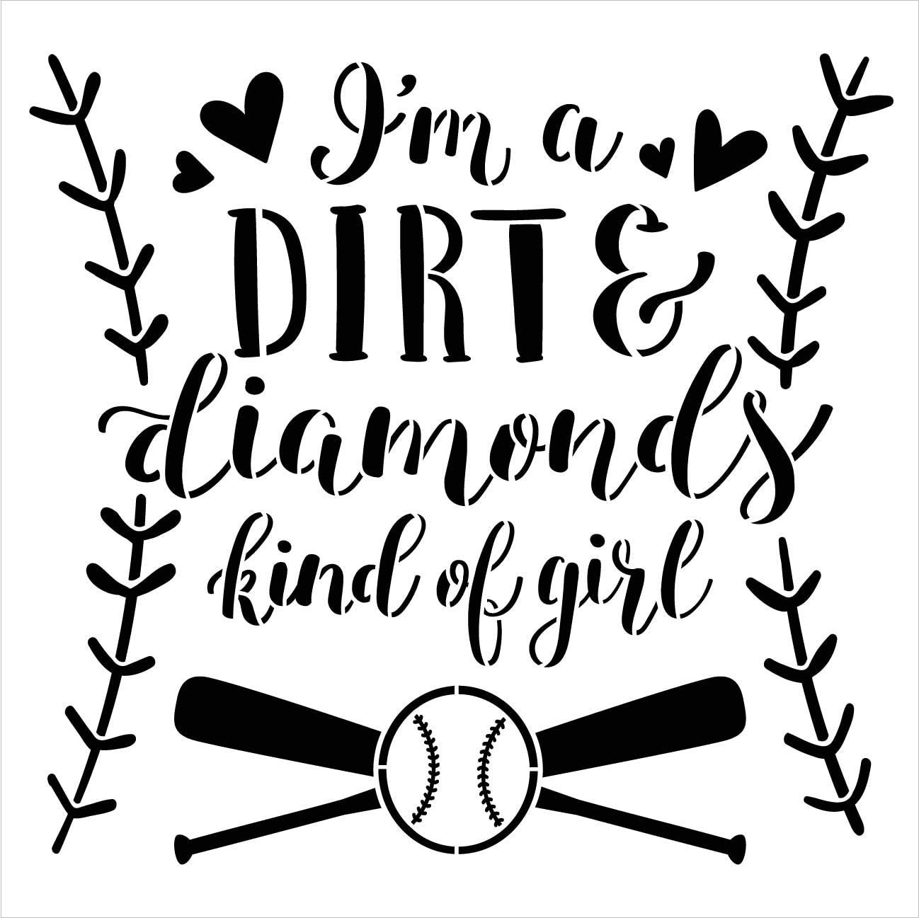 Dirt Diamond Girl Stencil by StudioR12   DIY Softball Baseball Lover Sport Home Decor   Craft & Paint Wood Sign Reusable Mylar Template   Bat Heart Stitch Pattern   Select Size