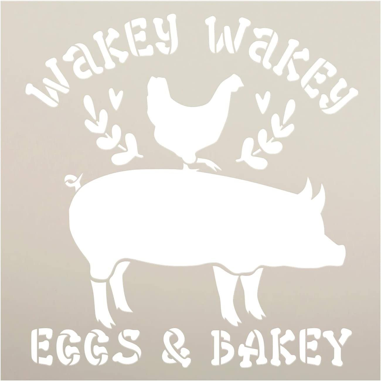 Wakey Eggs & Bakey Stencil by StudioR12 | DIY Farmhouse Home Decor - Pig - Chicken | Craft & Paint Wood Sign | Reusable Mylar Template | Laurel Heart | Kitchen | Select Size