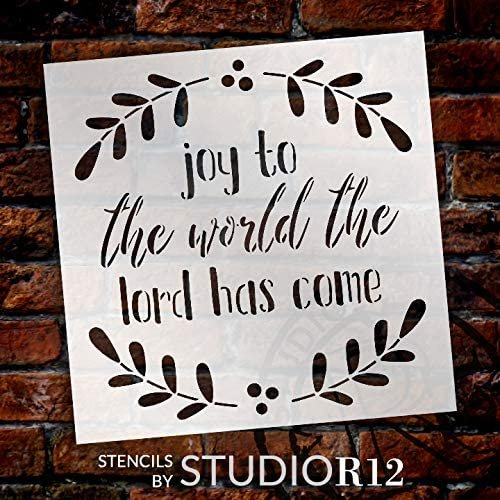Joy to The World Stencil by StudioR12 | DIY Christmas Holiday Home Decor | Craft & Paint Wood Sign | Reusable Mylar Template | Winter Mistletoe Cursive Script | Select Size