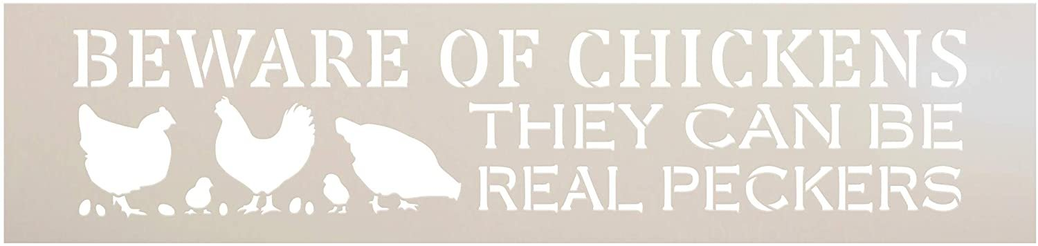 Beware Chickens - Real Peckers Stencil by StudioR12 | DIY Funny Farmhouse Home Decor | Craft & Paint Wood Sign | Reusable Mylar Template | Barn Coop Porch Gift | Select Size
