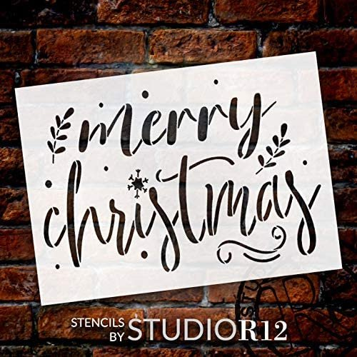 Merry Christmas Stencil by StudioR12 | DIY Holiday Laurel Home Decor | Craft & Paint Wood Sign | Reusable Mylar Template | Winter Snow Cursive Script Gift | Select Size