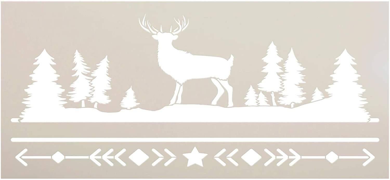 Bohemian Deer Stencil by StudioR12 | DIY Boho Antler Nature Home Decor | Craft & Paint Horizontal Wood Sign Reusable Mylar Template | Tree Arrow Star Pattern Gift Select Size