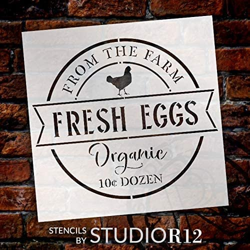 Fresh Egg - Farm Organic Stencil by StudioR12 | DIY Chicken Country Farmhouse Home Decor | Craft & Paint Wood Sign | Reusable Mylar Template | Market Barn Coop Gift Select Size