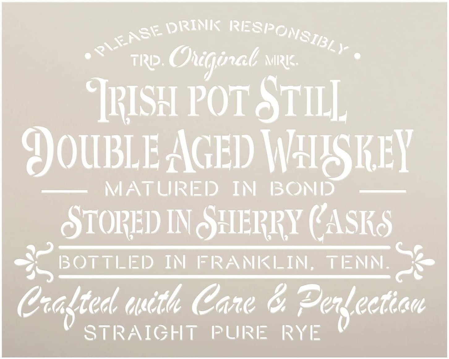 Irish Double Age Whiskey Stencil by StudioR12 | DIY Vintage Tennessee Liquor Home Decor | Craft & Paint Wood Sign | Reusable Mylar Template | Rustic Old Fashioned | Select Size