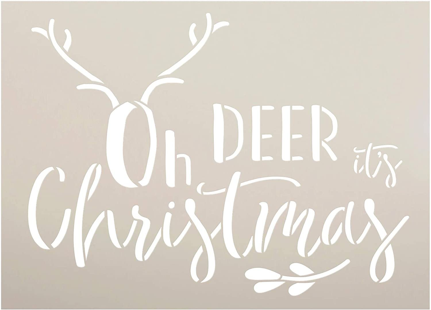 Oh Deer It's Christmas Stencil by StudioR12   DIY Holiday Mistletoe Home Decor   Craft & Paint Wood Sign Reusable Mylar Template   Winter Antler Cursive Script Select Size