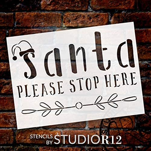 Santa Stop Here Stencil by StudioR12   DIY Christmas Holiday Mistletoe Home Decor   Craft & Paint Wood Sign   Reusable Mylar Template   Winter Hat Gift   Select Size