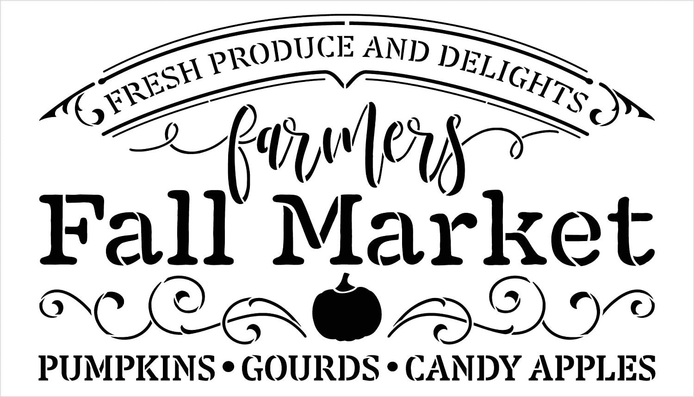 Farmers Fall Market Stencil by StudioR12 | DIY Autumn Farmhouse Home Decor | Craft & Paint Wood Sign Reusable Mylar Template | Pumpkin Apple Cursive Script Gift Select Size