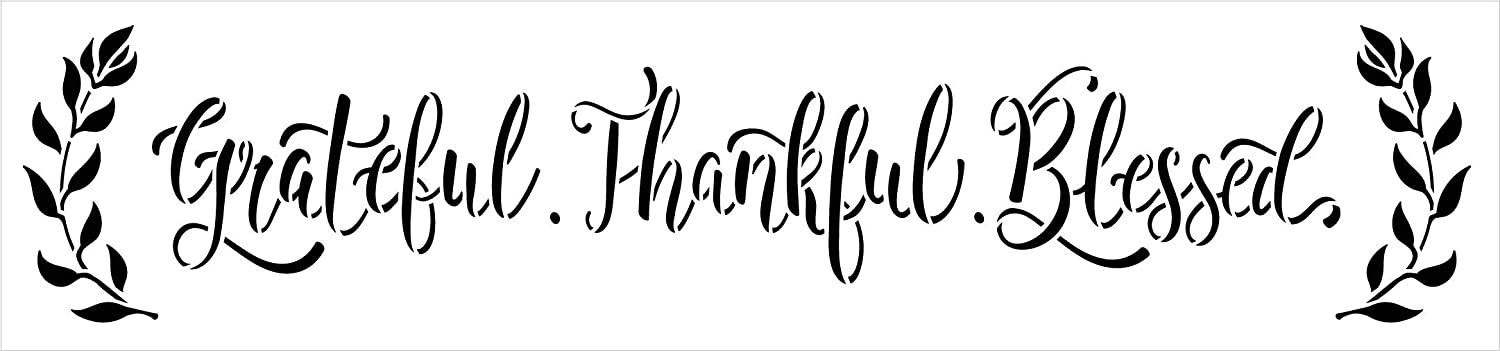 Grateful Thankful Blessed Stencil by StudioR12 | DIY Family Farmhouse Home Decor | Craft & Paint Wood Sign Reusable Mylar Template | Laurel Cursive Script Gift Select Size