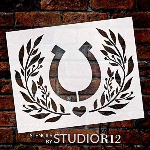 Horseshoe Laurel Wreath Stencil by StudioR12 | DIY Country Farmhouse Home Decor | Craft & Paint Wood Sign Reusable Mylar Template | Rural Barn Animal Lover Gift Select Size