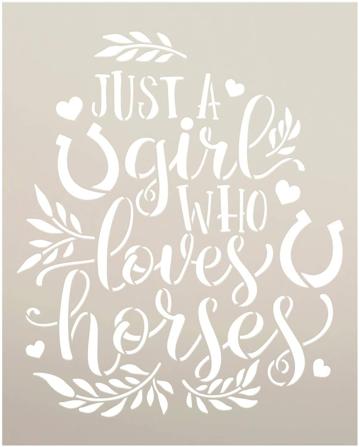 Girl Who Loves Horses Stencil by StudioR12 | DIY Country Farmhouse Laurel Home Decor | Craft & Paint Wood Sign | Reusable Mylar Template | Cursive Script Heart | Select Size