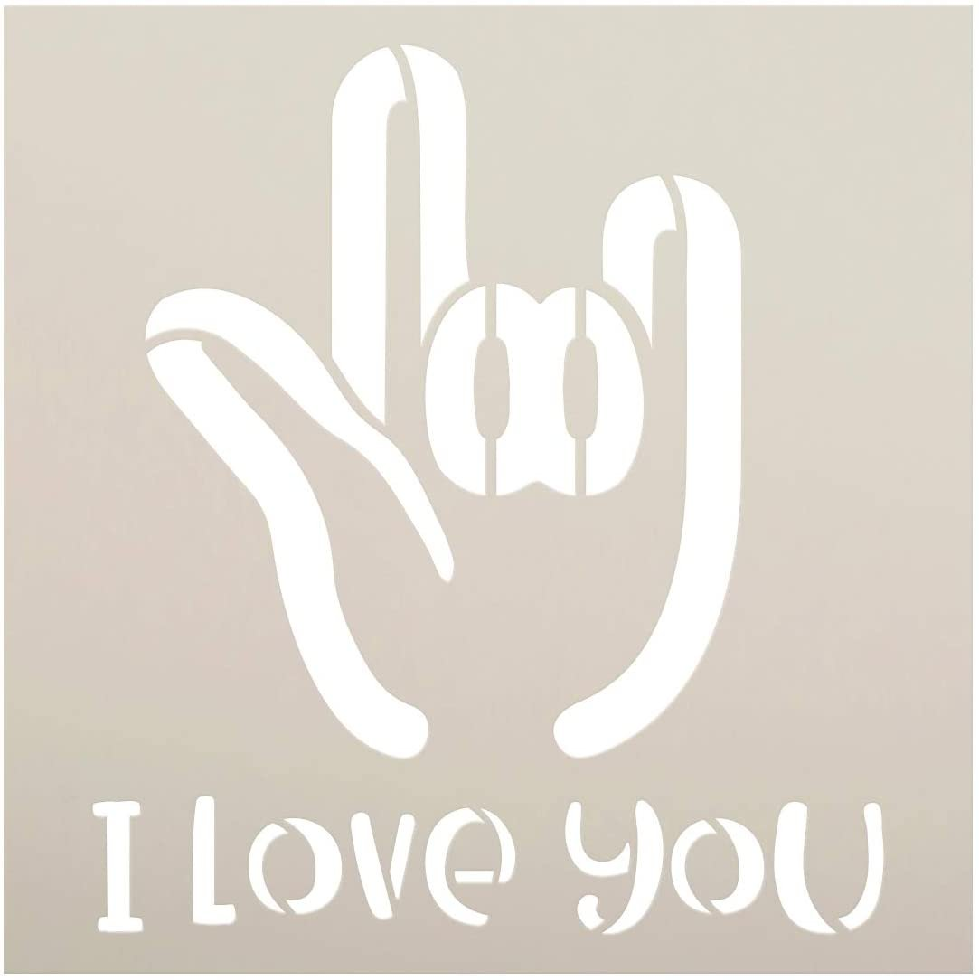 I Love You Sign Language Stencil by StudioR12 | DIY ASL Family Friend Home Decor | Craft & Paint Wood Sign | Reusable Mylar Template | ILY Hand Gesture Symbol Gift Select Size
