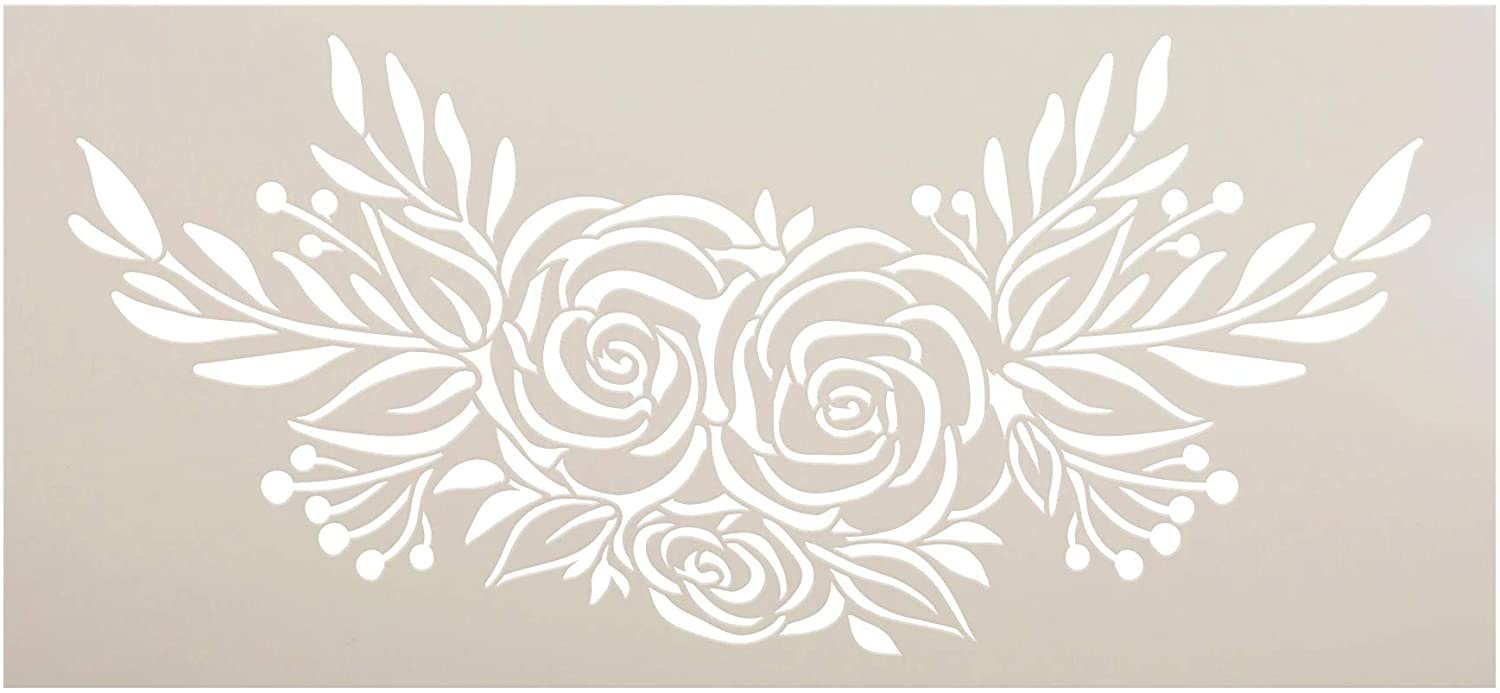 Rose Bouquet Stencil by StudioR12   DIY Rustic Flower Lover Home Decor   Craft & Paint Wood Sign   Reusable Mylar Template   Happy Floral Plant Gift Garden Porch Select Size