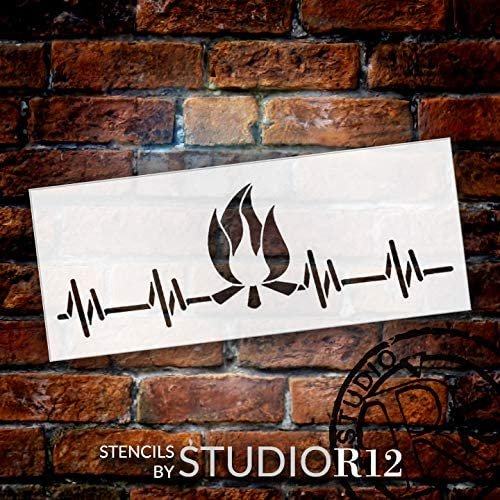 Campfire Heartbeat Pulse Stencil by StudioR12   DIY Outdoor Adventure Home Decor   Craft & Paint Wood Sign   Reusable Mylar Template   Fun Travel Nature Love  Select Size