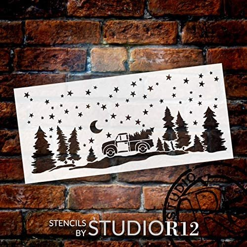 Christmas Starry Night Stencil by StudioR12 | DIY Vintage Truck Fir Tree Home Decor | Craft & Paint Wood Sign | Reusable Mylar Template | Snowy Holiday Gift | Select Size