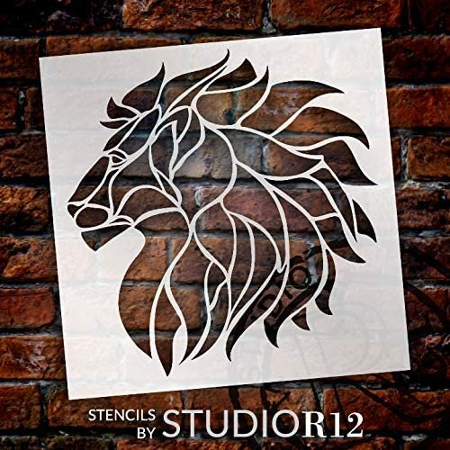Lion Profile Stencil by StudioR12 | DIY Stained Glass Pattern Mosaic Home Decor | Craft & Paint Wood Sign | Reusable Mylar Template | Big Cat Lady Silhouette Gift | Select Size