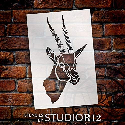 Gazelle Portrait Stencil by StudioR12 | DIY African Deer Wildlife Home Decor | Craft & Paint Wood Sign | Reusable Mylar Template | Animal & Nature Lover Gift | Select Size