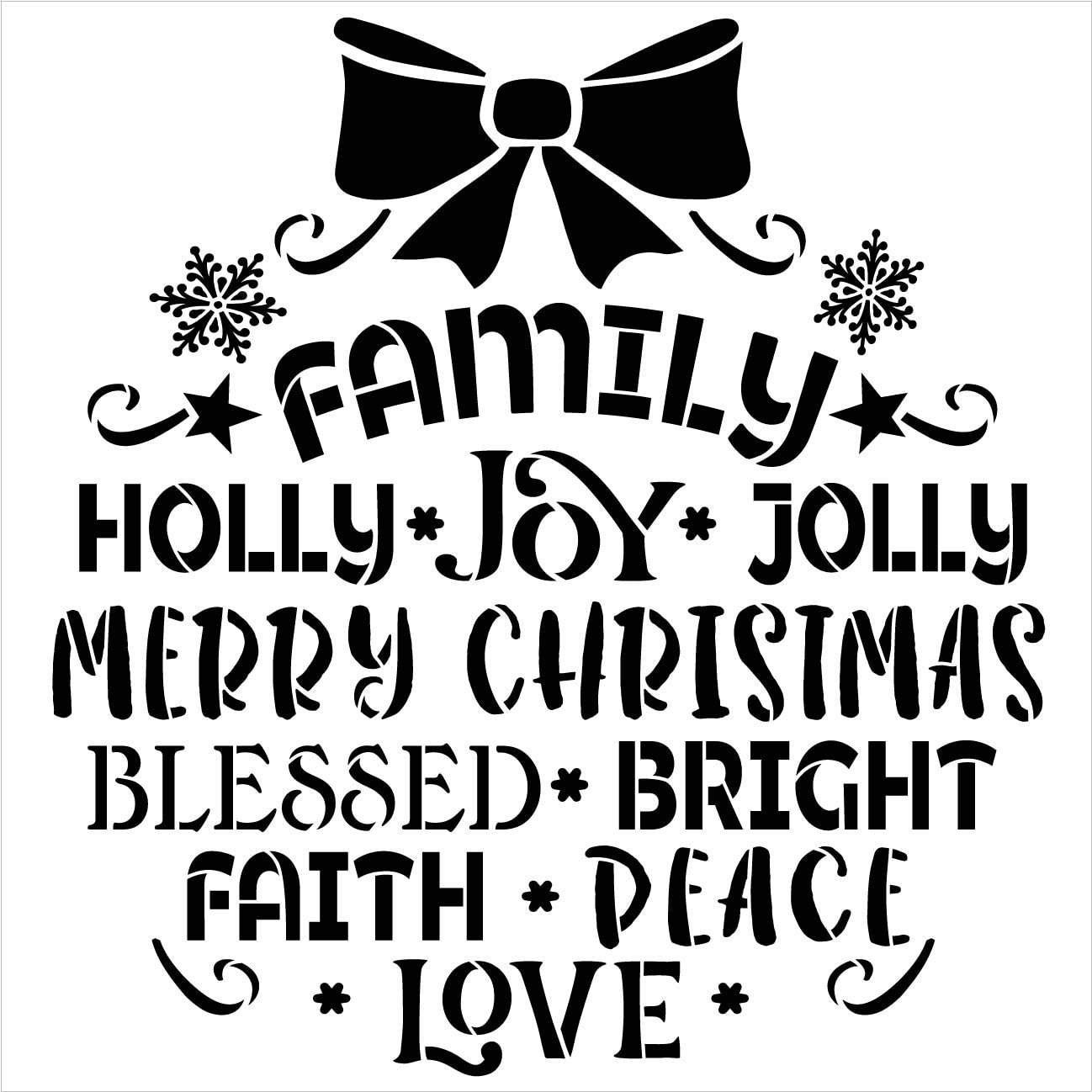 Family Christmas Ornament Word Art Stencil by StudioR12   DIY Holiday Hope Love Home Decor   Craft & Paint Wood Sign   Reusable Mylar Template   Holly Jolly Gift   Select Size