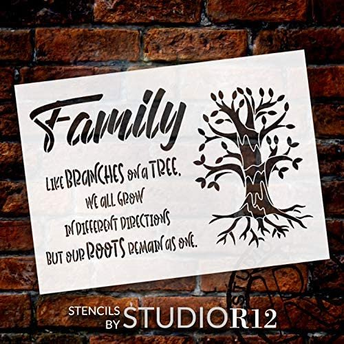 Family Like Branches on a Tree Stencil by StudioR12 | DIY Love & Growth Home Decor | Craft & Paint Wood Sign Reusable Mylar Template | Cursive Script Hope Gift Select Size