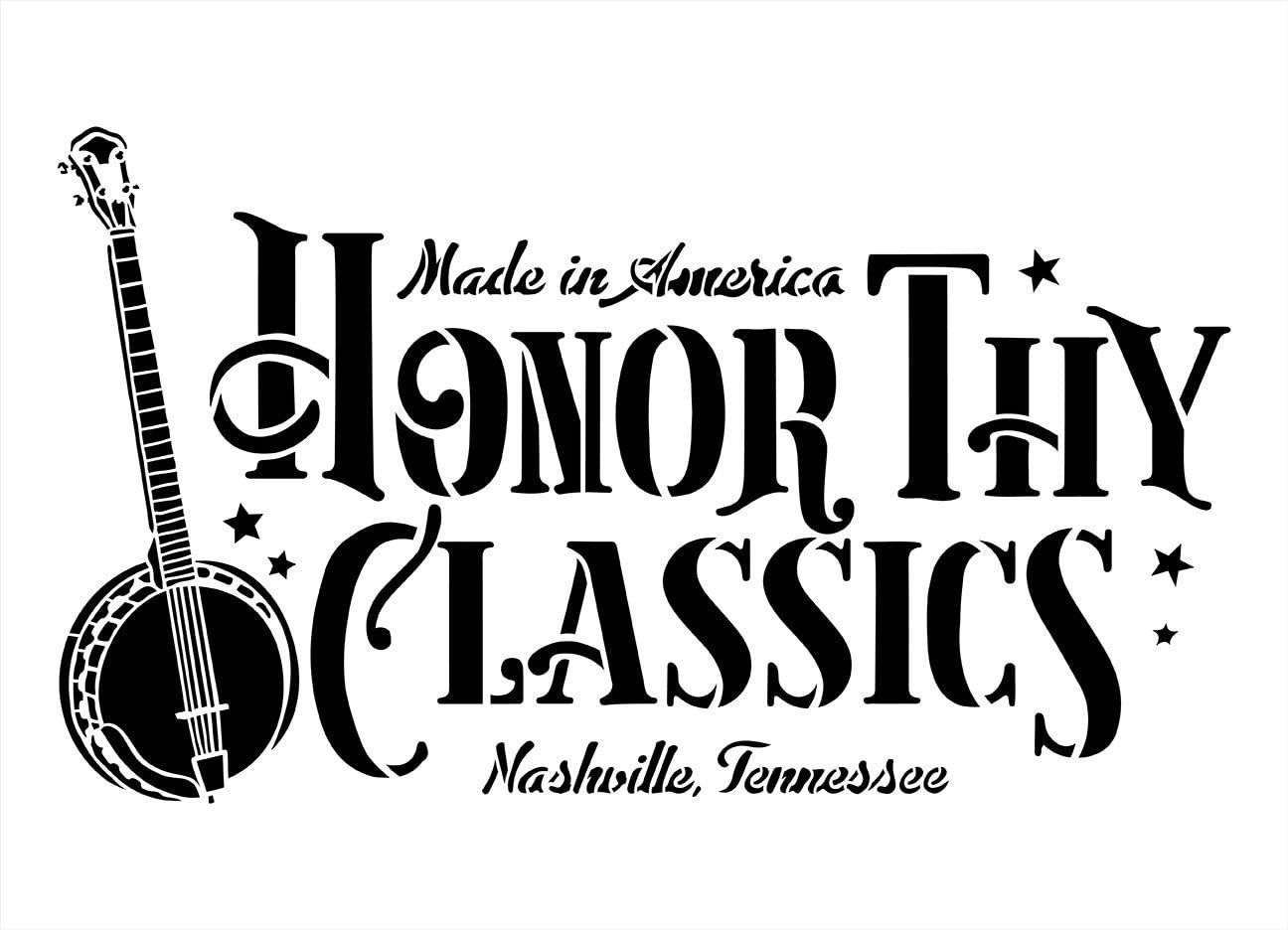 Honor Thy Classics Stencil by StudioR12 | DIY Nashville Tennessee Country Music Home Decor | Craft & Paint Wood Sign Reusable Mylar Template Bluegrass Vintage Select Size