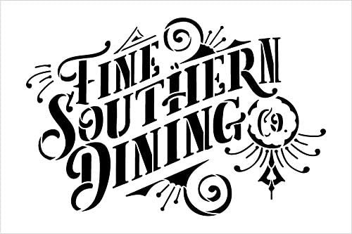 Fine Southern Dining Stencil by StudioR12 | DIY Rustic American Home Decor | Craft & Paint Wood Sign | Reusable Mylar Template | USA Vintage Style Kitchen Gift | Select Size
