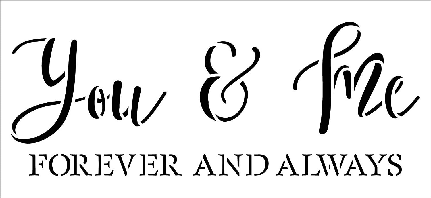You & Me Forever Always Stencil by StudioR12   DIY Family Couple Love Home Decor   Craft & Paint Wood Sign   Reusable Mylar Template   Wedding Cursive Script Gift Select Size