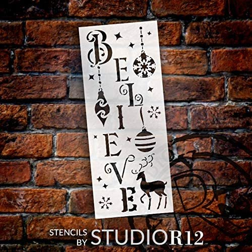 Believe Stencil by StudioR12 | DIY Christmas Holiday Ornament Home Decor | Craft & Paint Tall Wood Sign | Reusable Mylar Template | Winter Reindeer Snowflake | Select Size
