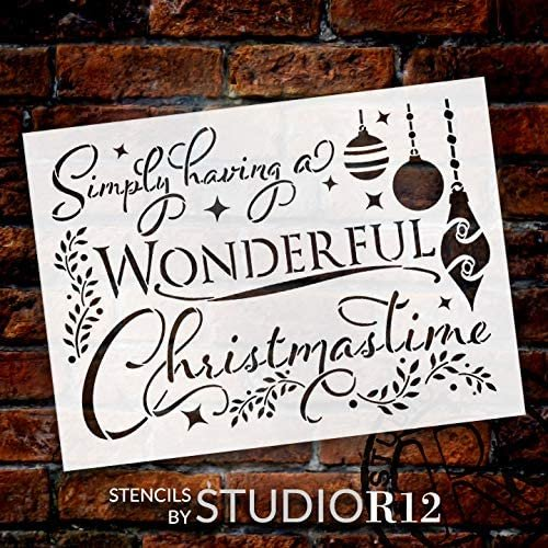Wonderful Christmas Time Stencil by StudioR12   DIY Winter Holiday Song Home Decor   Craft & Paint Wood Sign Reusable Mylar Template   Ornament Mistletoe Gift Select Size