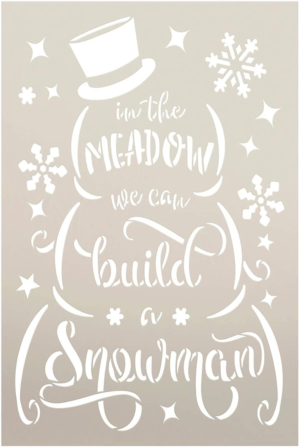 We Can Build a Snowman Stencil by StudioR12 | DIY Christmas Holiday Song Home Decor | Craft & Paint Wood Sign | Reusable Mylar Template | Winter Cursive Script Gift Select Size