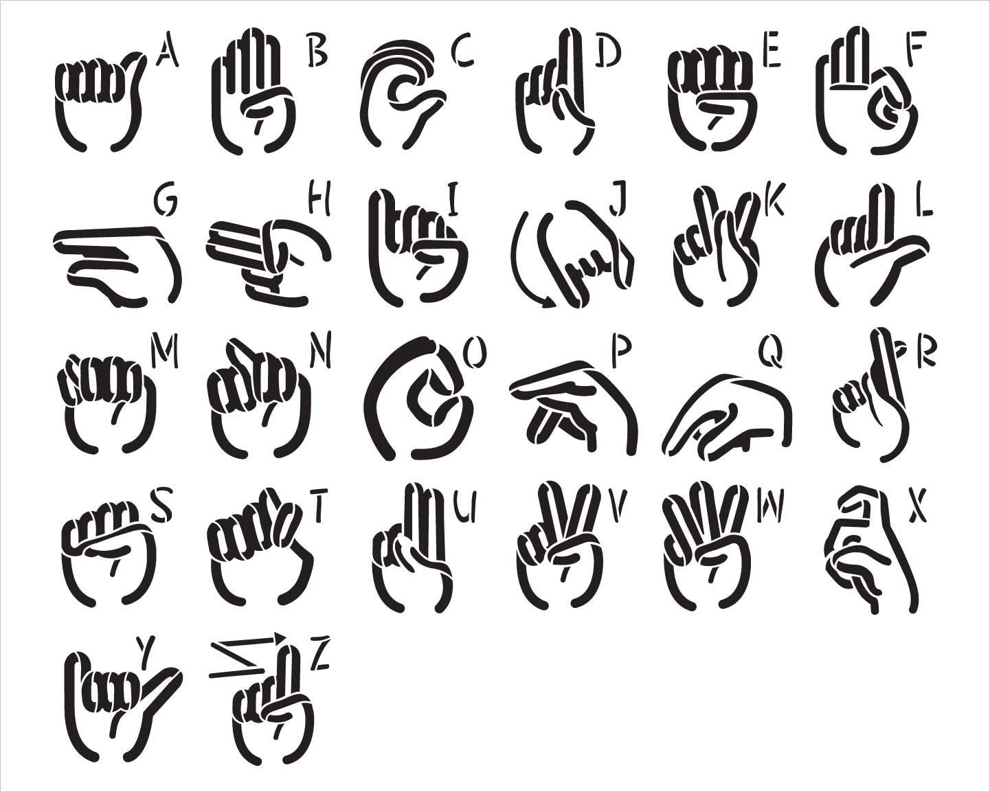 American Sign Language Alphabet Stencil by StudioR12   DIY ASL Family Home Decor   Craft & Paint Wood Sign   Reusable Mylar Template   Finger Spell Hand Symbol Gift Select Size
