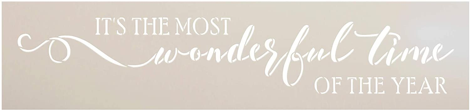 Most Wonderful Time of Year Stencil by StudioR12   DIY Christmas Holiday Song Home Decor   Craft & Paint Wood Sign Reusable Mylar Template   Cursive Script Gift Select Size