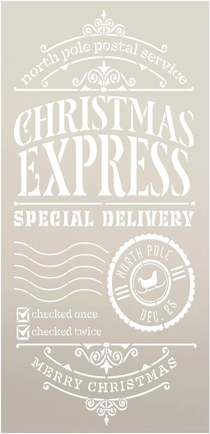 Express Christmas Delivery Stencil by StudioR12   DIY North Pole Holiday Home Decor   Craft & Paint Wood Sign Reusable Mylar Template   Santa Claus Postal Gift Select Size