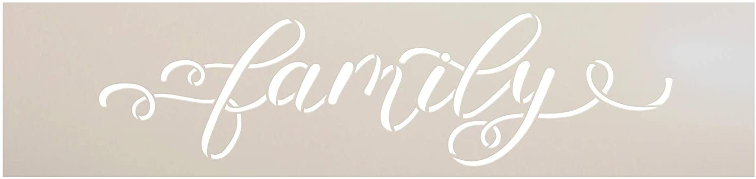 Family Stencil by StudioR12   DIY Thankful Grateful Quote Farmhouse Home Decor   Craft & Paint Wood Sign   Reusable Mylar Template   Dainty Cursive Script Gift Select Size