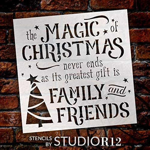 Magic of Christmas Family & Friends Stencil by StudioR12   DIY Winter Holiday Home Decor   Craft & Paint Wood Sign   Reusable Mylar Template   Tree Star Snow Gift   Select Size