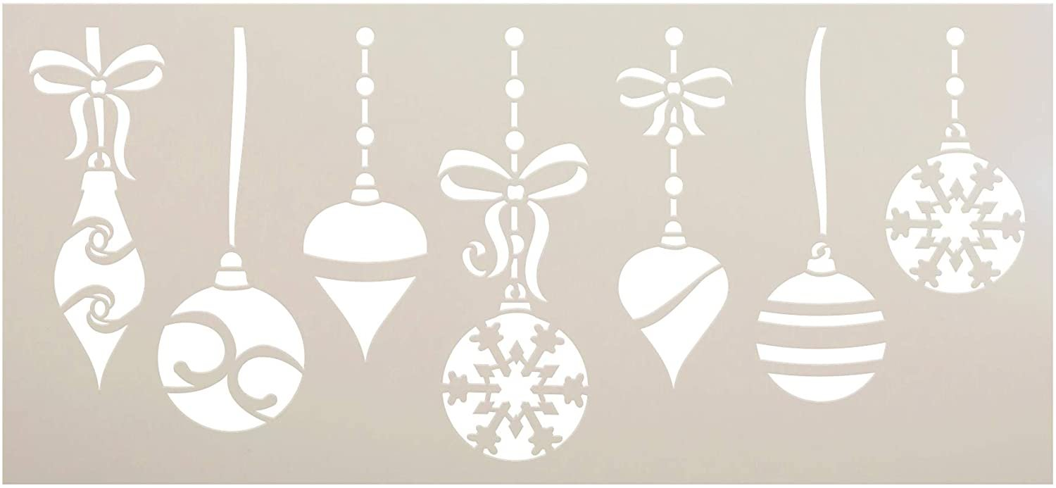Hanging Christmas Ornament Stencil by StudioR12 | DIY Elegant Winter Holiday Home Decor | Craft & Paint Wood Sign | Reusable Mylar Template | Ribbon Bow Snow Gift Select Size