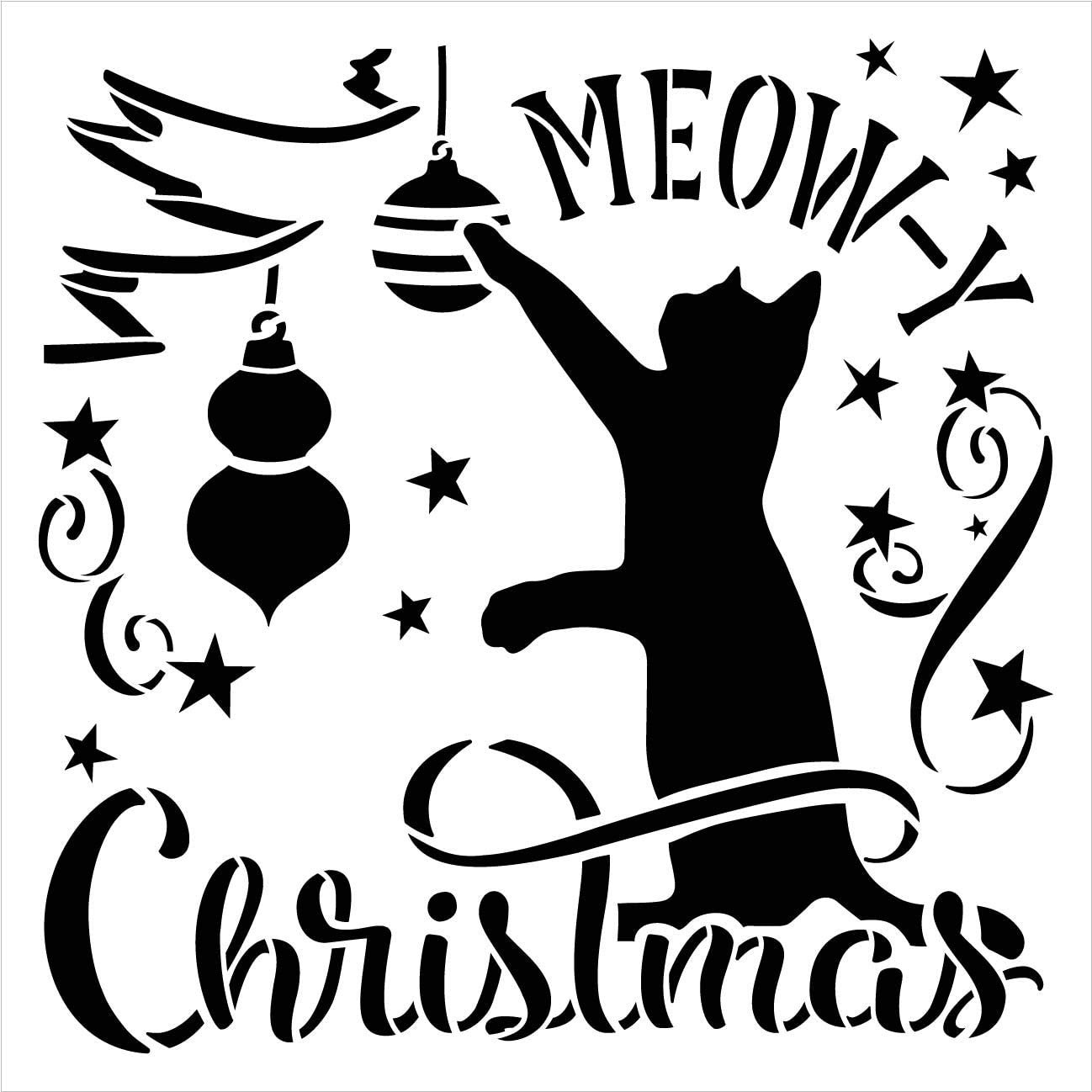 Meow-y Christmas Stencil by StudioR12   DIY Cat Lover Holiday Home Decor   Craft & Paint Wood Sign   Reusable Mylar Template   Tree Ornament Star Cursive Script   Select Size