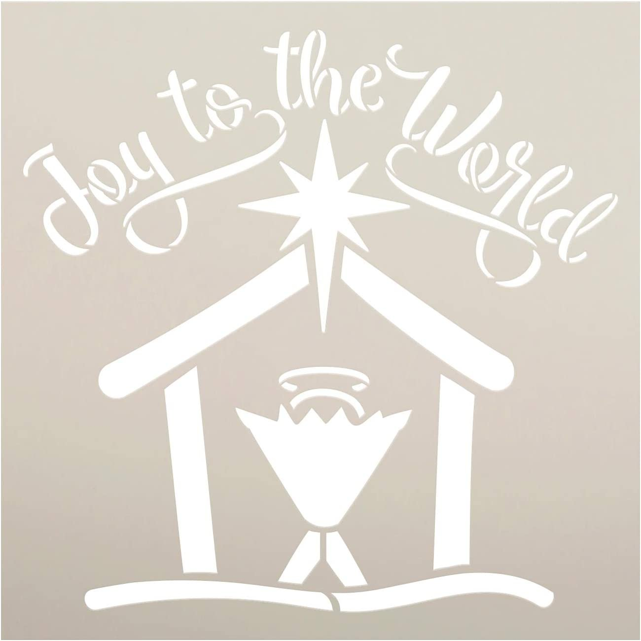 Joy to The World Nativity Stencil by StudioR12   DIY Christmas Star Holiday Home Decor   Craft & Paint Wood Sign   Reusable Mylar Template   Faith Baby Jesus Gift   Select Size