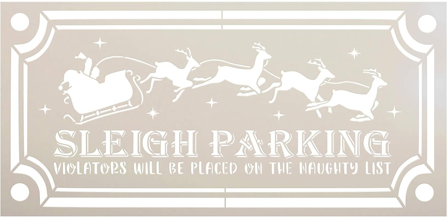 Sleigh Parking Stencil by StudioR12 | DIY Christmas Holiday Home Decor | Craft & Paint Wood Sign Reusable Mylar Template | Funny Santa Claus Reindeer Star Gift Select Size