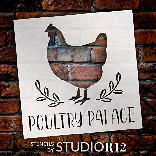 Poultry Palace Chicken Stencil by StudioR12 | DIY Farmhouse Home Decor | Craft & Paint Square Wood Sign | Reusable Mylar Template | Laurel Hen Country Kitchen Gift Select Size