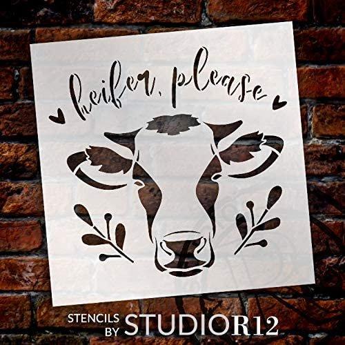 Heifer Please Stencil by StudioR12   DIY Cow Country Farmhouse Home Decor   Craft & Paint Wood Sign   Reusable Mylar Template   Cursive Script Laurel Heart Gift Select Size