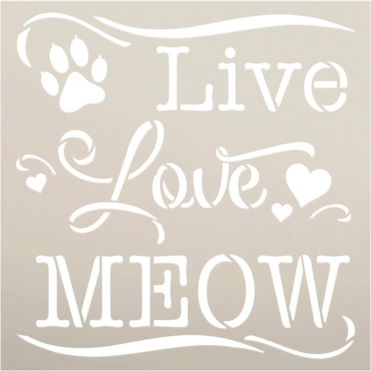 Live Love Meow Stencil by StudioR12 | DIY Pet Cat Lover Home Decor | Craft & Paint Wood Sign | Reusable Mylar Template | Kitten Paw Print Heart Cursive Script | Select Size