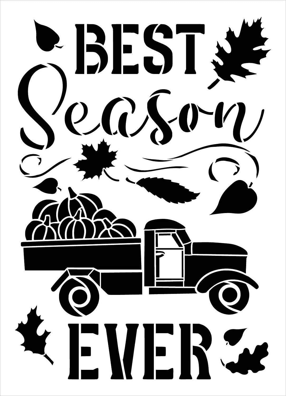 Best Season Ever Stencil by StudioR12   DIY Fall Pumpkin Truck Farmhouse Home Decor   Craft & Paint Wood Sign   Reusable Mylar Template   Autumn Leaves Cursive Select Size