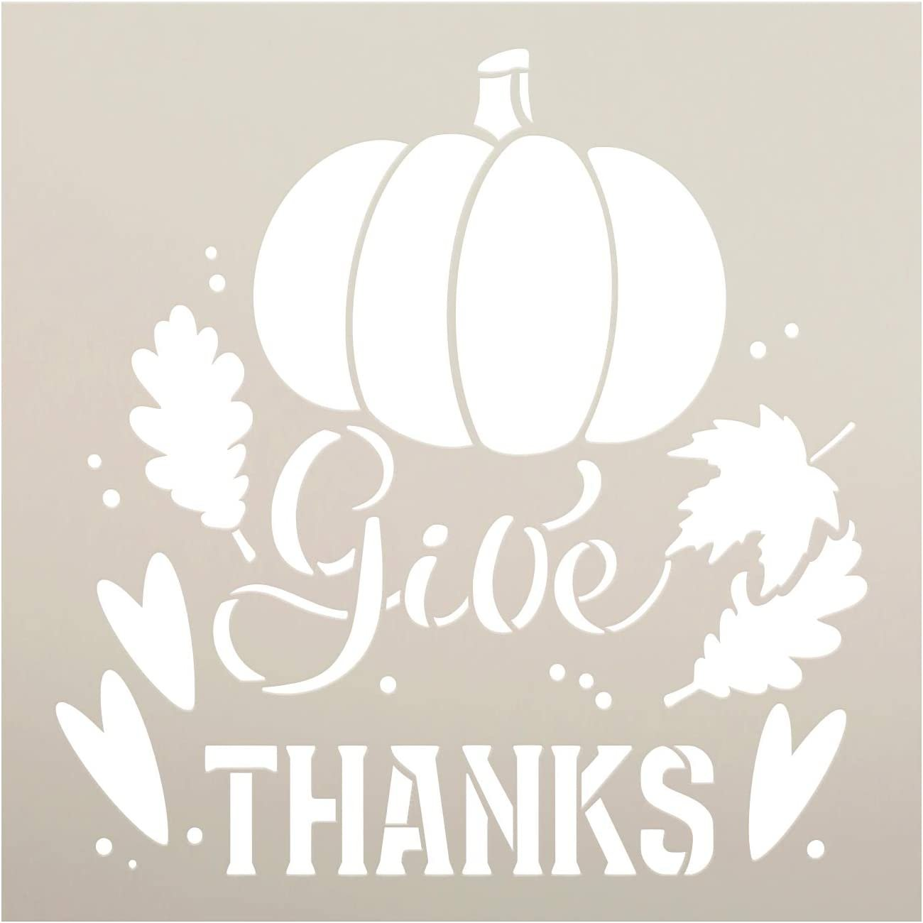 Give Thanks Stencil By Studior12 Diy Autumn Farmhouse Home Decor Craft Paint Wood Sign Reusable Mylar Template Pumpkin Leaves Cursive Script Gift Select Size Creative Arts Lifestyle