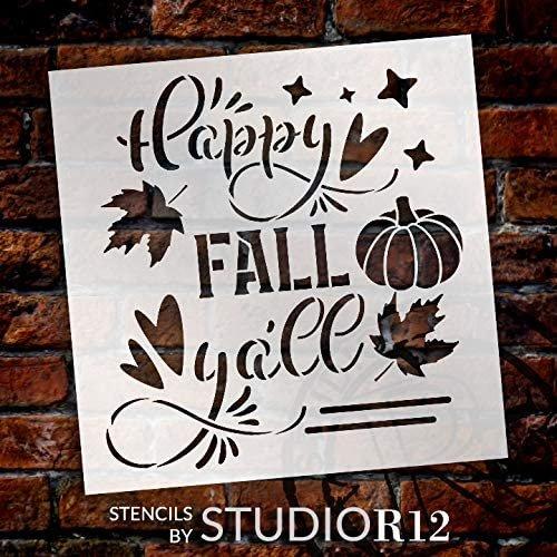 Happy Fall Yall Stencil by StudioR12   DIY Autumn Farmhouse Home Decor   Craft & Paint Wood Sign   Reusable Mylar Template   Leaves Heart Pumpkin Cursive Script   Select Size