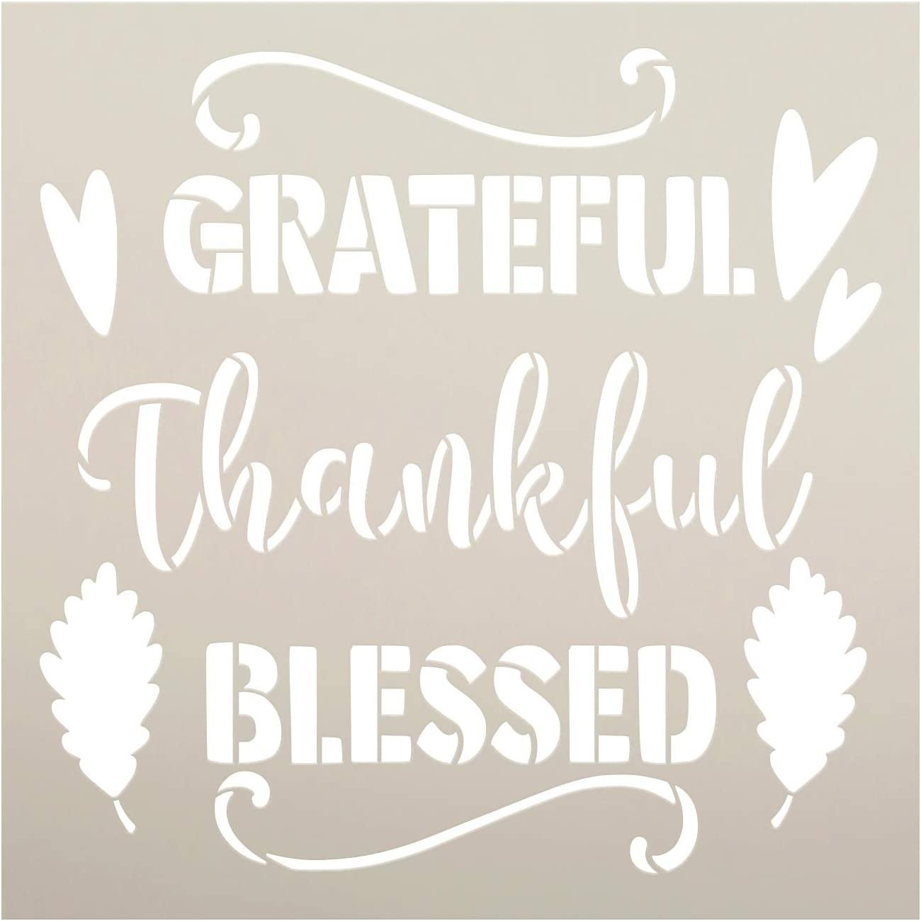 Grateful Thankful Blessed Stencil By Studior12 Diy Autumn Farmhouse Home Decor Craft Paint Wood Sign Reusable Mylar Template Leaves Cursive Script Gift Select Size Creative Arts Lifestyle