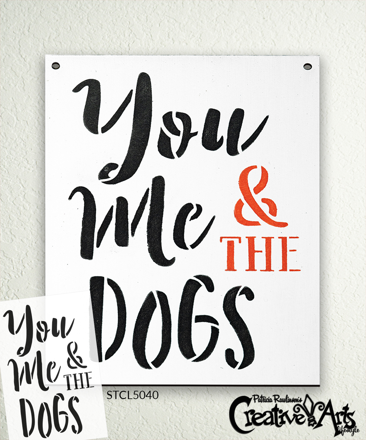 You Me & The Dogs Stencil by StudioR12 | DIY Pet Owner Farmhouse Home Decor | Craft & Paint Wood Sign | Reusable Mylar Template | Ampersand Cursive Script Gift | Select Size